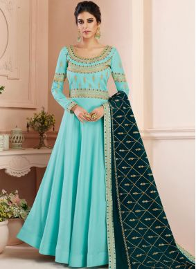 Majestic Blue Embroidered Floor Length Anarkali Suit