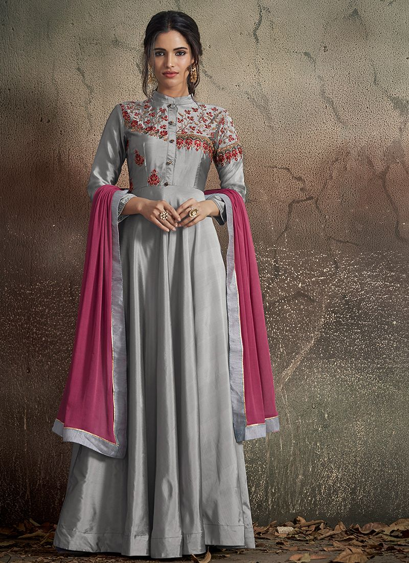 Majestic Embroidered Grey Art Silk Readymade Gown