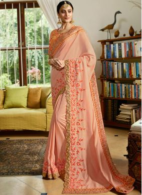 Majestic Peach Wedding Classic Saree