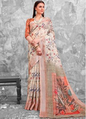 Majesty Abstract Print Cotton Multi Colour Printed Saree