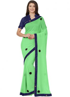 Majesty Faux Chiffon Green Stone Casual Saree