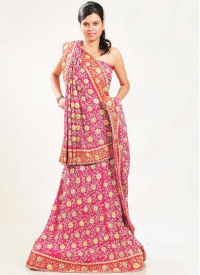 Majesty Faux Crepe Pink Patch Border Lehenga Choli