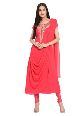 Majesty Georgette Pink Embroidered Readymade Salwar Suit