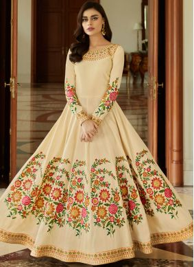 Malbari Silk  Anarkali Salwar Suit in Cream