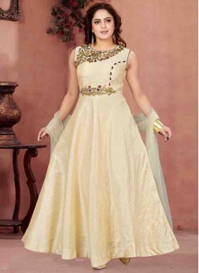 Malbari Silk  Cream Readymade Anarkali Salwar Suit