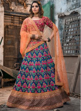 Malbari Silk  Embroidered Blue Lehenga Choli