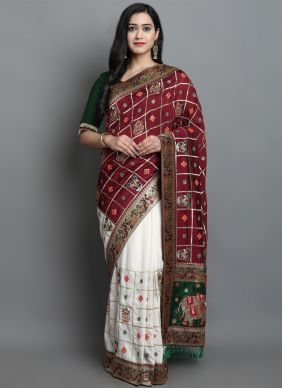 Maroon and Off White Patola Print Sangeet Designer Traditional Saree