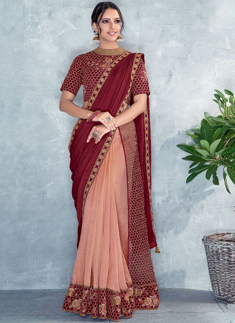 Maroon and Peach Silk Festival Classic Designer Saree