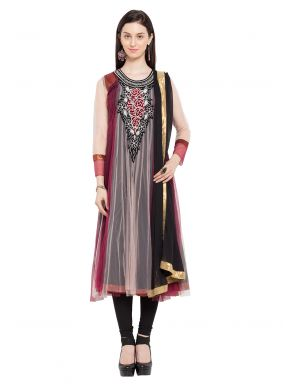 Maroon and Pink Net Patchwork Readymade Anarkali Salwar Suit