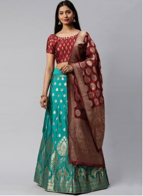 Maroon and Sea Green Mehndi Lehenga Choli