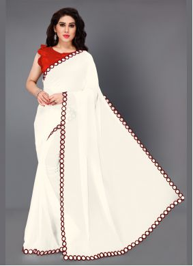 Maroon and White Party Traditional Saree