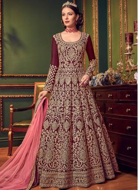 Maroon Art Raw Silk Floor Length Anarkali Suit
