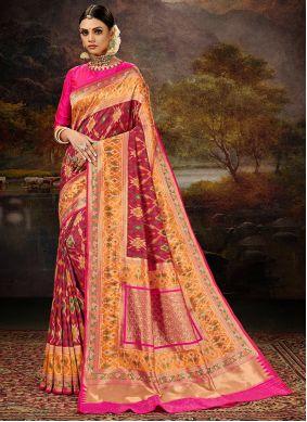 Maroon Banarasi Silk Weaving Work Saree