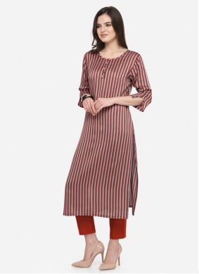 Maroon Cotton Ceremonial Casual Kurti