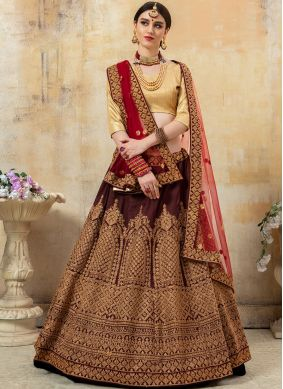 Maroon Embroidered Bridal Lehenga Choli