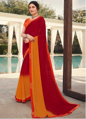Maroon Embroidered Faux Georgette Classic Designer Saree