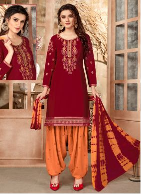 Maroon Embroidered Festival Designer Patiala Suit