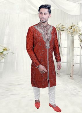 Maroon Embroidered Festival Indo Western