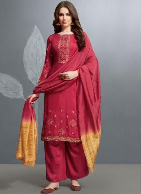 Maroon Embroidered Festival Palazzo Designer Salwar Suit
