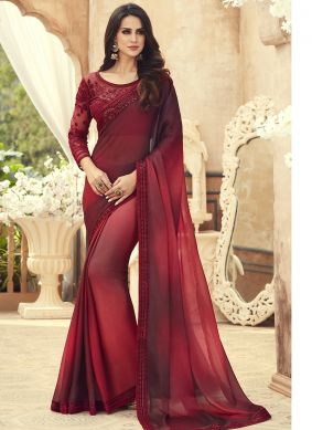 Maroon Embroidered Mehndi Saree