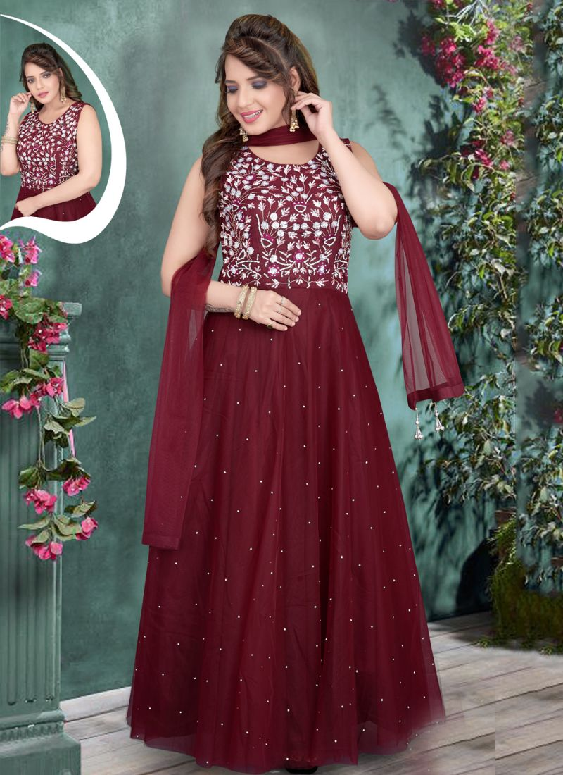 Maroon Embroidered Net Gown