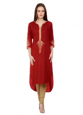 Maroon Embroidered Party Casual Kurti