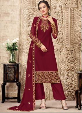Maroon Embroidered Trendy Salwar Suit