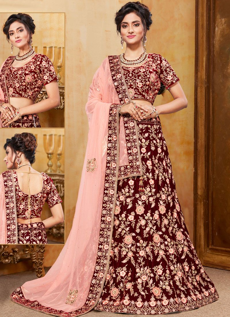 Maroon Embroidered Velvet Trendy A Line Lehenga Choli