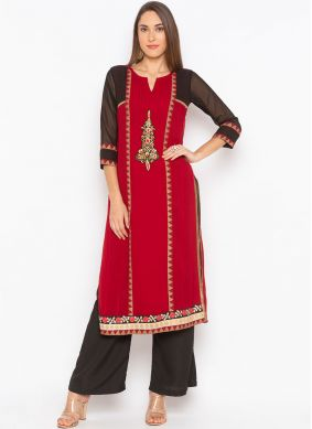 Maroon Faux Georgette Ceremonial Party Wear Kurti
