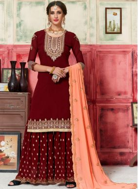 Maroon Faux Georgette Embroidered Designer Palazzo Salwar Kameez