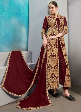 Maroon Faux Georgette Embroidered Jacket Style Suit