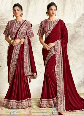 Maroon Georgette Designer Traditional Saree