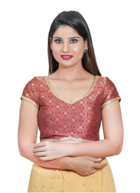 Maroon Jacquard Embroidered Blouse