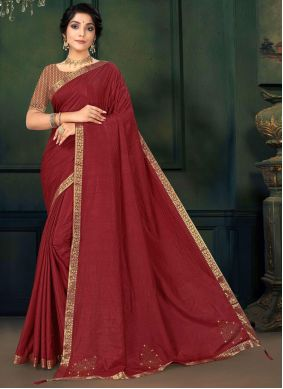Maroon Lace Festival Traditional Saree