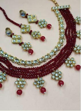 Maroon Moti Necklace Set