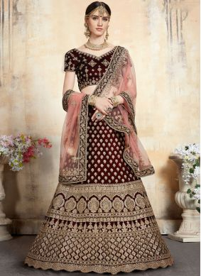 Maroon Net Embroidered Trendy Lehenga Choli