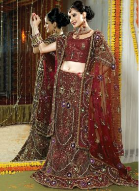 Maroon Patch Border Net Lehenga Choli
