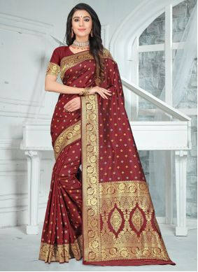 Maroon Poly Silk Saree