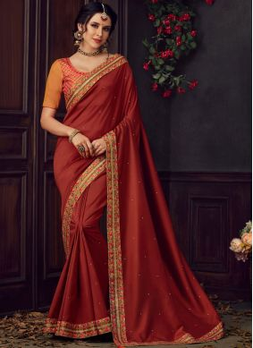 Maroon Poly Silk Traditional Saree
