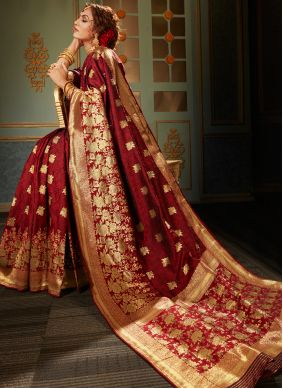 Maroon Reception Classic Saree
