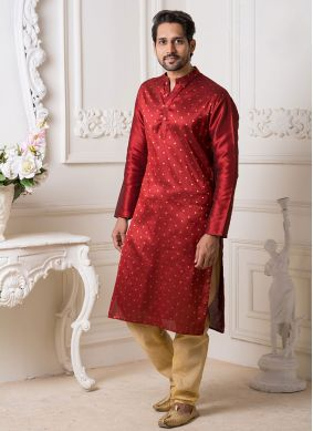 Maroon Reception Kurta Pyjama