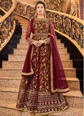 Maroon Reception Net Anarkali Salwar Kameez