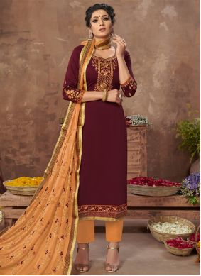 Maroon Satin Embroidered Pant Style Suit