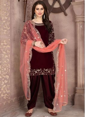 Maroon Velvet Embroidered Designer Patiala Suit