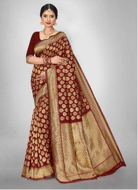 Maroon Weaving Jacquard Silk Saree