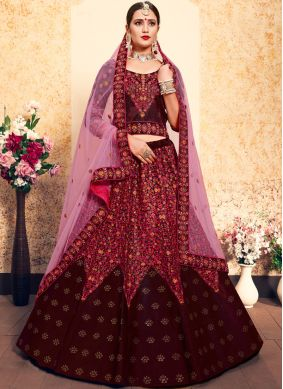 Maroon Wedding Designer Lehenga Choli