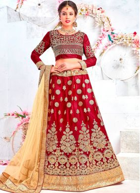Maroon Wedding Net Lehenga Choli
