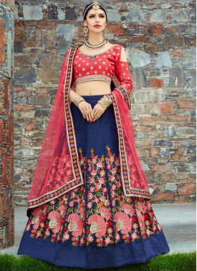 Marvelous Art Silk Patch Border Work Lehenga Choli