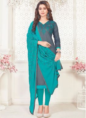 Marvelous Embroidered Casual Churidar Suit