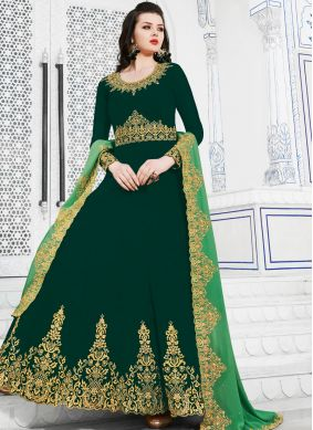 Marvelous Embroidered Green Georgette Anarkali Suit